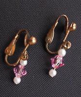 "Vintage Gold Tone Pink Glass & Faux Pearl Dangle Drop Clip Earrings 1"""