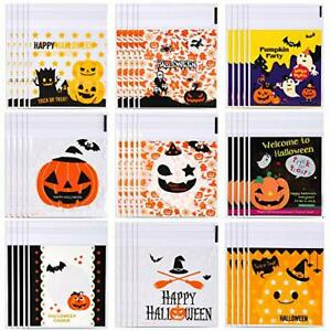 300pcs Halloween Cellophane Bags Halloween Candy Bags Holiday Clear Treat Bag...
