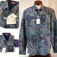 Bugatchi Uomo Size XL Shaped Fit Mens Shirt Blue Multi Color Plaid Flip New