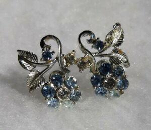 Vintage Blue & White Rhinestone Flower Screw Back Earrings