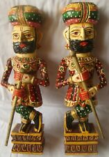 Painted wooden statue of rajasthani vintage gate keeper royal handicraft pair