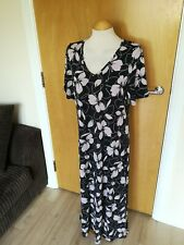 Ladies NANSO Dress Size 14 Black Pink Long Maxi Stretch Jersey Smart Casual Day