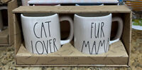 Rae Dunn - CAT LOVER 🐱 FUR MAMA - 2 Coffee Mug Gift Set ☕️