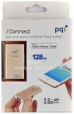 PQI 128GB iConnect Lightning USB Flash Drive Windows Apple iPhone iPad Mac 128G