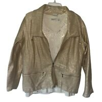 Chicos Womens Jacket And Top Gold Stripe Zip Up Stretch Collar Med/Large
