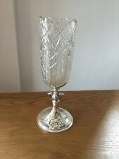 ANTIQUE RUSSIAN SOLID SILVER & HEAVY CUT GLASS VASE 1893