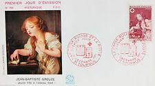 ENVELOPPE PREMIER JOUR - 9 x 16,5 cm - ANNEE 1971 - CROIX-ROUGE J.B. GREUZE N784