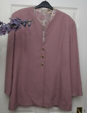 Jacques Vert dusky pink jacket and blouse set 16/18 wool/poly mix wedding/occasi