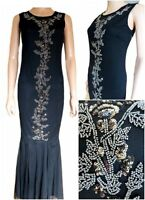 New Ex M&co Ladies Black Mesh Party Fishtail Maxi Dress Embellished Size 8 - 20