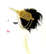 Black Gold Chain Feather Headpiece 1920s Headband Flapper Great Gatsby 1797