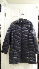 NWT WOMENS ANDREW MARC LONG DOWN 650 FILL DETACHABLE HOODED JACKET XS INDIGO