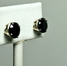 14k solid white gold 8mm faceted natural Black Onyx stud screw back earrings