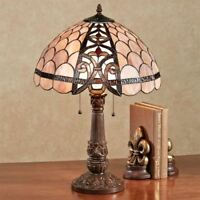 Xamurra Stained Glass Table Lamp Coral Pink Each with CFL Bulb