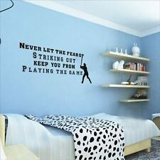 Huhome PVC Wall Stickers Wallpaper English never let baseball inspirational chil