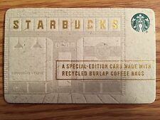 HTF Starbucks Special Edition Made with Recycled Burlap Coffee Bags Gift Card