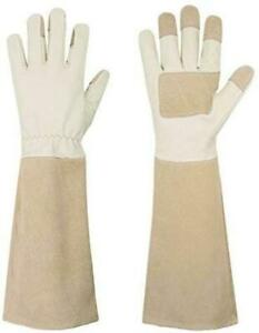 Rose Pruning Gloves for Men Women Long Thorn Proof Gardening Gloves Large Beige