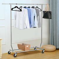 Heavy Duty Adjustable Garment Rack Shelf Collapsible Salesman Rolling Rack Hange
