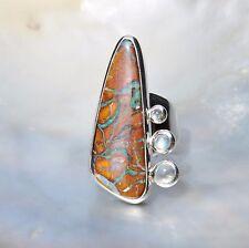 Boulder Opal Ring, 925er Silber, Edelsteinring (21031), mit Mondstein