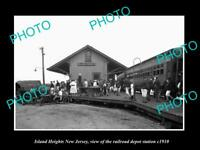 OLD LARGE HISTORIC PHOTO OF ISLAND HEIGHTS NEW JERSEY, THE RAILROAD DEPOT c1910