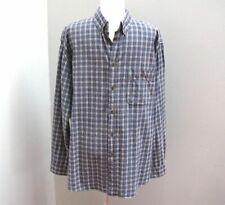 Cherokee Blue Cotton Plaid Men's Dress Shirt Size Large