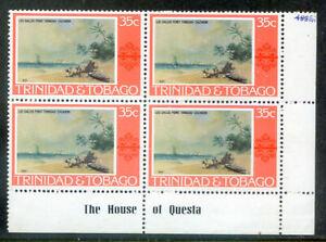 Trinidad & Tobago 1975-8 Definitives 35c block 4 inverted. wmk. (2021/10/23#03)
