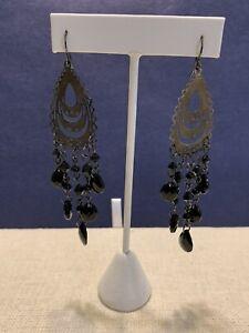 Black Beaded Chandelier Hook Earrings