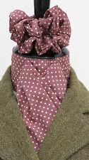 Ready Tied Grape & Cream Pin Dot Cotton Riding Stock & Scrunchie - Hunting Show