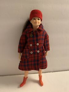 Vintage 1960s Libby Littlechap Doll - White Dress Red Plaid Coat Boots Remco