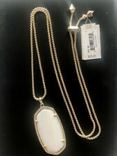 New! Kendra Scott Reid Long Adjustable Pendant Necklace in White w/pouch $75