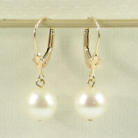 Genuine White Cultured Pearl Earrings Leverback Dangle 14k Yellow Solid Gold TPJ
