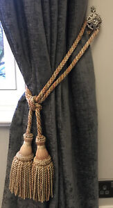 Single Vintage Traditional Large Double Tassel Rope Curtain Tie Back Luxurious