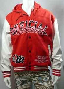 Mens Plus Size Hooded Varsity Harrington Red Jacket Size 2XL RRP £60 MJJul06-1