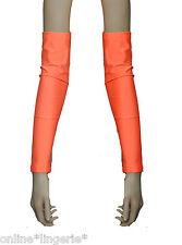 Arm Warmers Orange UV Flo Neon Lycra Gloves Gauntlets Fingerless Club Dancer G8