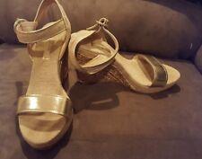 Maypol 40 9 gold tan wedge sandals heels shoes Spain