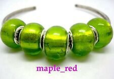 Fashion Pure Foil Green European Style Lampwork Glass Beads fit Charm Bracelet