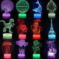 3D illusion Visual Night Light 7 Colors Change LED Desk Table Lamp Decor Gifts