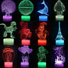 3D LED illusion USB 7Color Table Night Light Lamp Bedroom Child Gift 24 Types