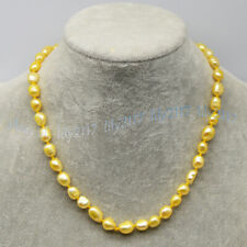 Beauty 8-9mm Light Gold Freshwater Cultured Baroque Pearl Necklace 14-28''
