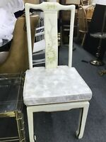 Vintage Chinoiserie Asian White Lacquer Desk Side Chair