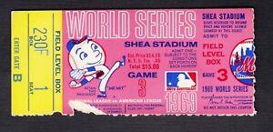 1969 NEW YORK METS WORLD SERIES TICKET STUB - Game 3 - Shea Stadium