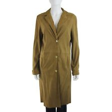 Womens Tan Beige Suede Leather Long Sleeve Button Front Trench Coat sz M