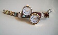 Silver & Gold finish metal band   dual time 2 time zone  fashion women's watch