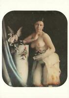 NUDE YOUNG WOMAN with DOVES & FLOWERS EROTIC PHOTO POSTCARD by Bruno Braquehais