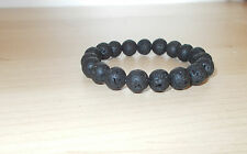 Armband elastisch  schwarz  Perlen aus Vulkan-Lava