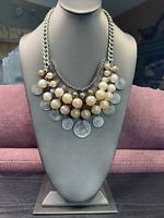 Vintage Unusual Grey White   Bohemian Coin  Pearl Beaded Bib Statement Necklace