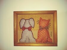 Valerie's Folk Art Applique3D Dog & Cat On Burlap & Wood Signed Valorie 1983 EUC