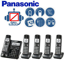 Panasonic Answering Machine 5 Cordless Handsets Call Block Talking ID KX-TGF545B