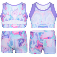 Kids Girls Dance Outfit Crop Top+Booty Shorts Gymnastics Leotard Sport Dancewear