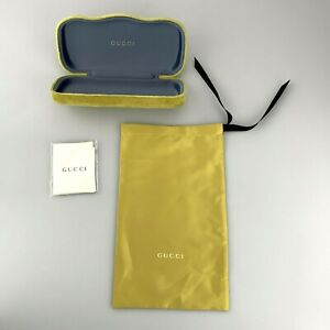 Gucci Sunglasses Case Only Green Yellow Velvet Hardcase Clamshell + Pouch Cloth