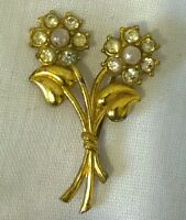 1940s Flower Brooch Statement Paste Glass Faux Pearl Vintage Retro Pin Bridal